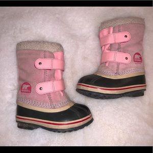 Pink toddler Sorel boots